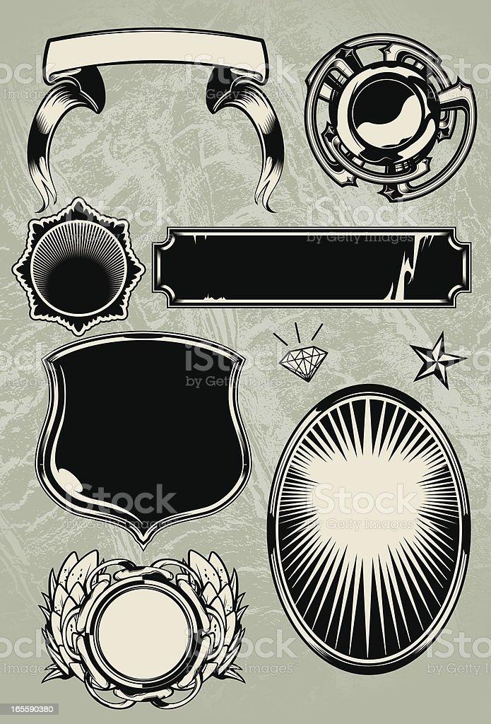 Crest Building Elements vector art illustration