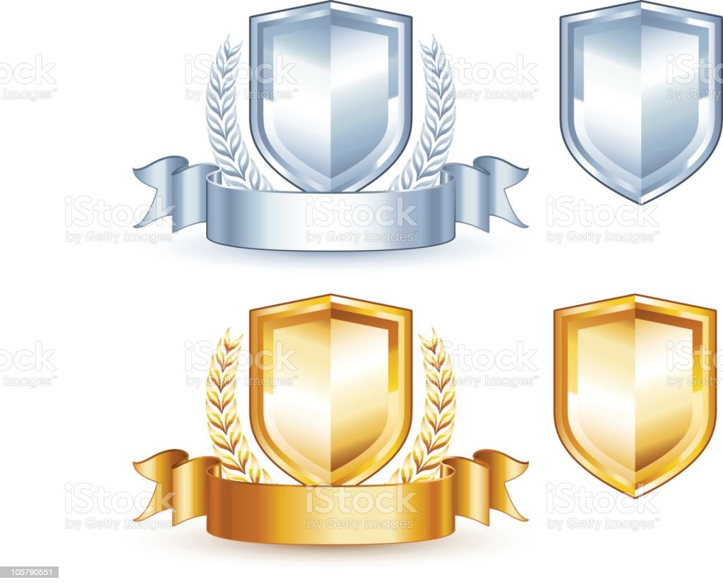 Crest (silver and gold) vector art illustration