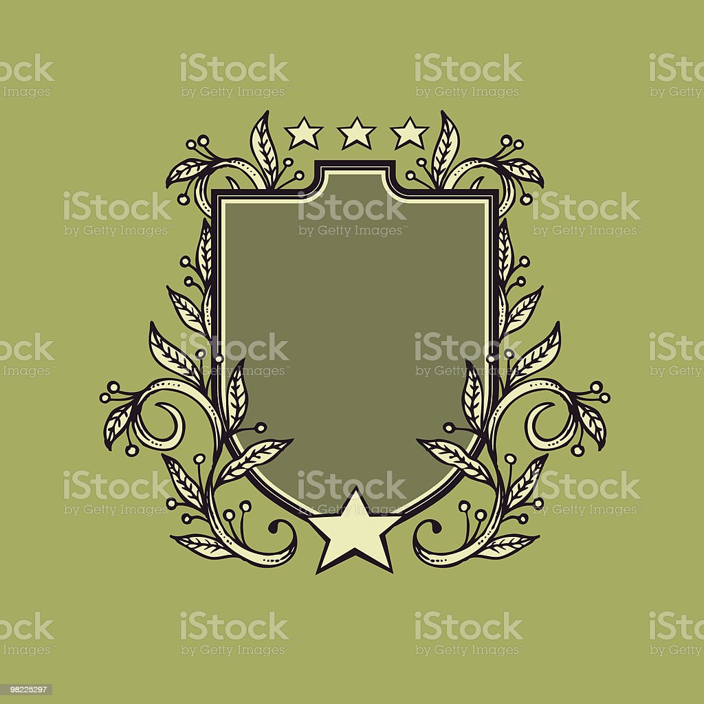 Crest with Stars and Vines royalty-free stock vector art