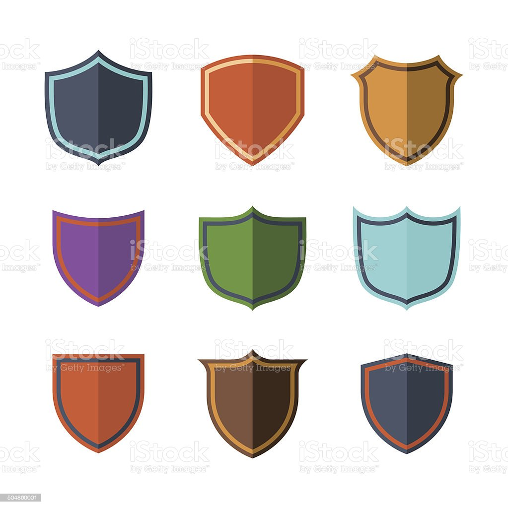 Crests flat design set over white background royalty-free stock vector art