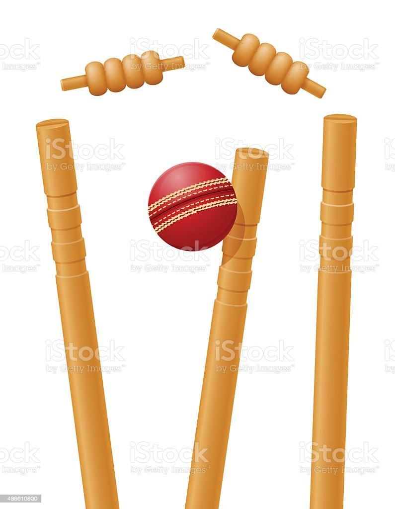 cricket ball caught in the wicket vector illustration vector art illustration