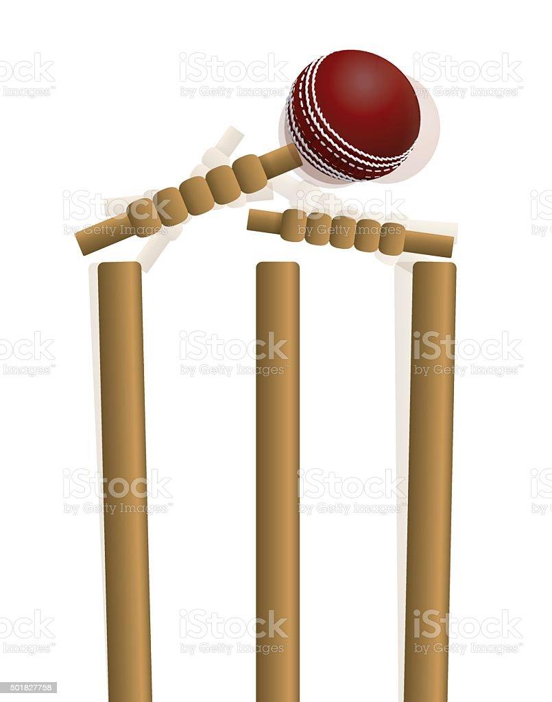 Cricket Ball Hitting the Wicket Illustration vector art illustration