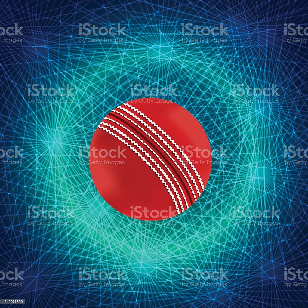 Cricket Ball With Abstract Background vector art illustration