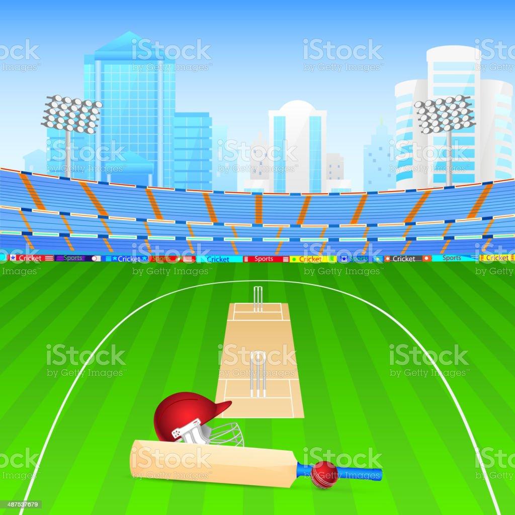 Cricket bat and ball vector art illustration