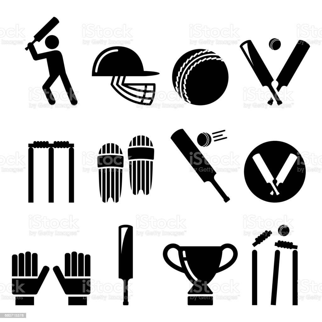 Cricket bat, man playing cricket, cricket equipment - sport icons set vector art illustration