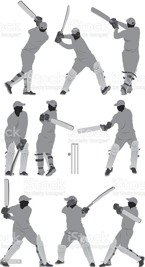 Cricket batsman in action royalty-free stock vector art