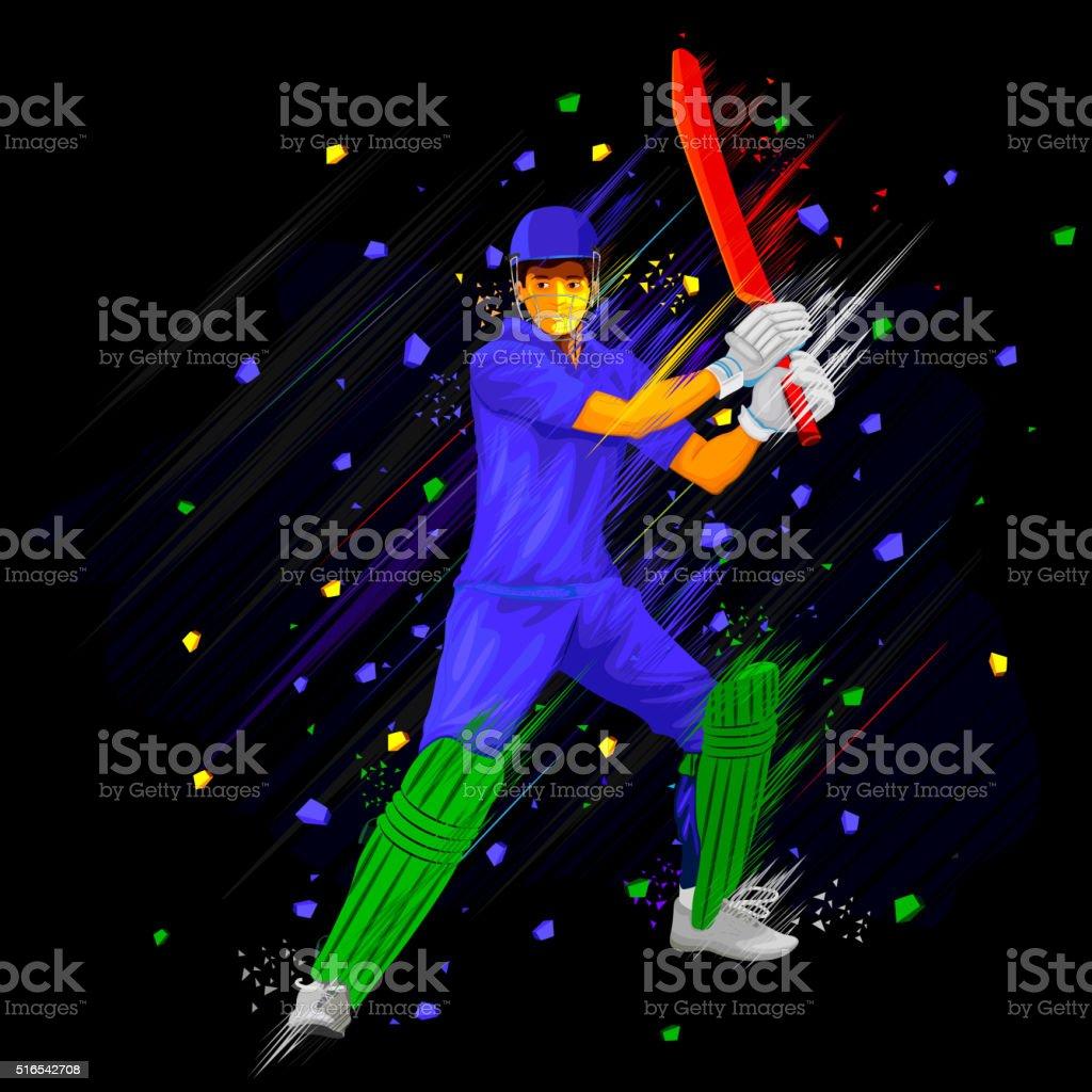 Cricket Batsman playing vector art illustration