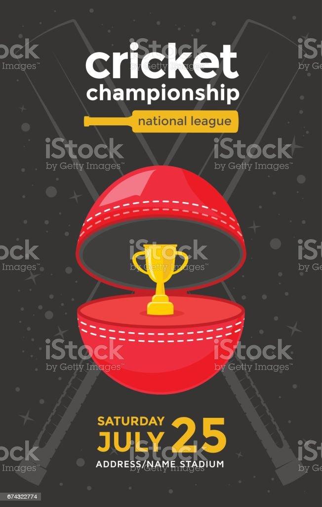 Cricket championship poster vector art illustration