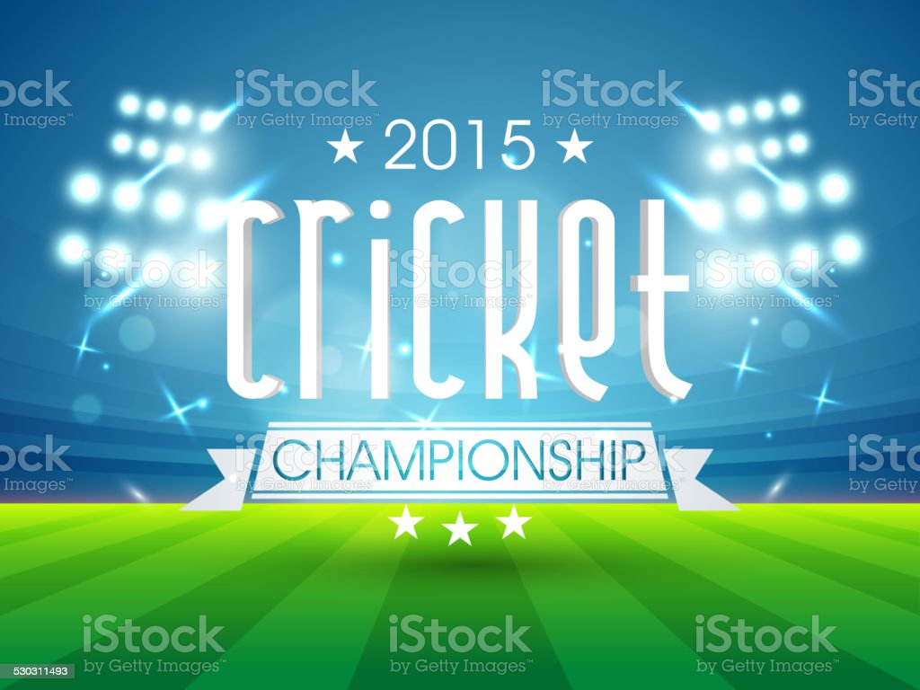 2015 cricket championship text. vector art illustration