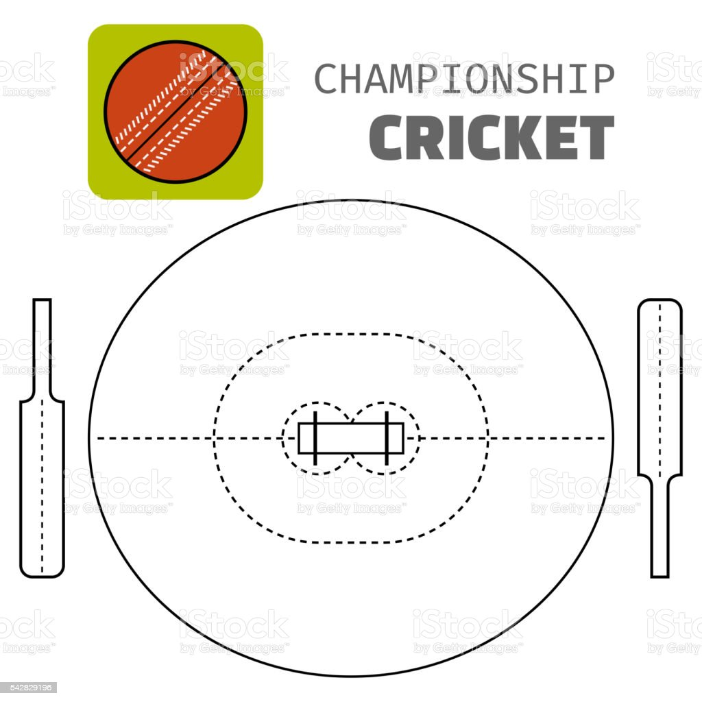 Cricket. Flat color icon sports ball and field plan. Vector...