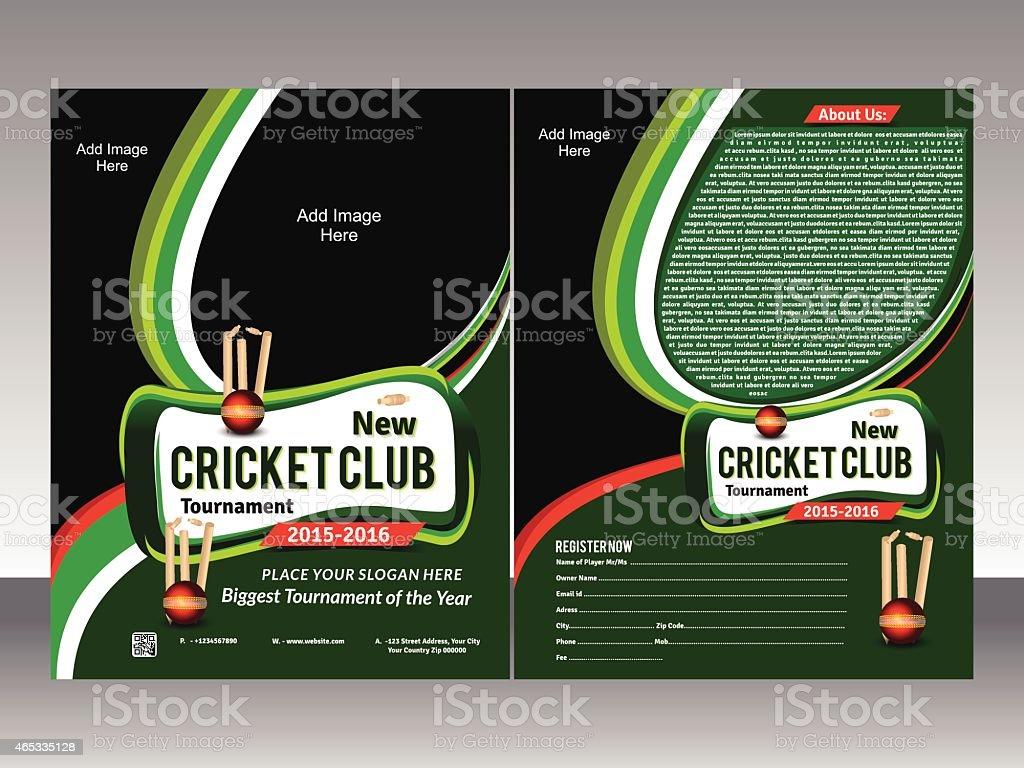 cricket flyer template vector art illustration