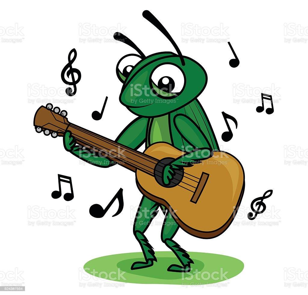 cricket guitar player vector art illustration