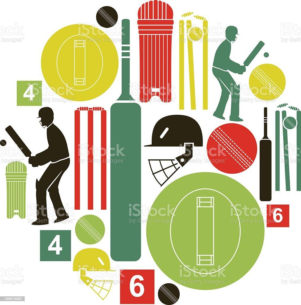 Cricket Icon Set vector art illustration