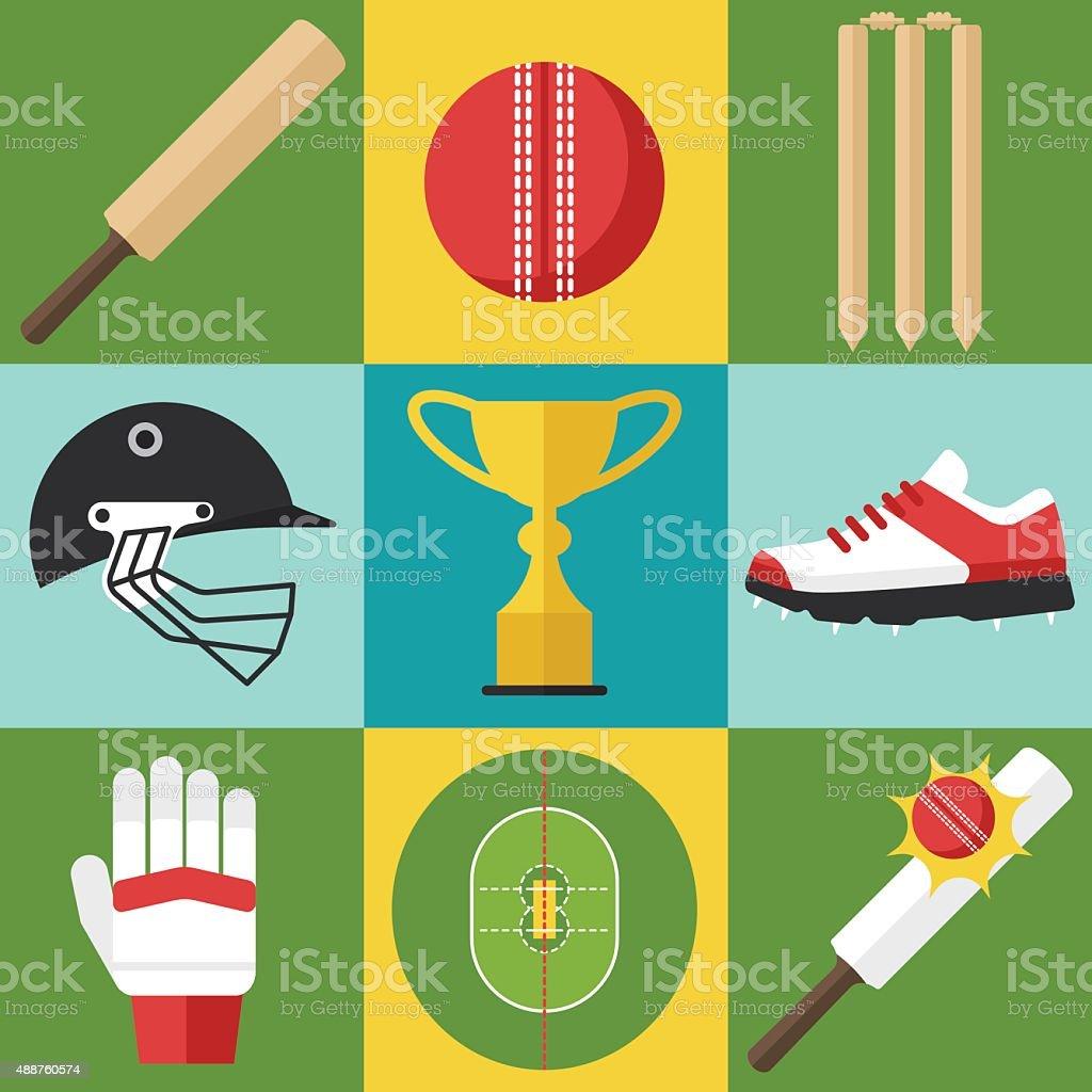 Cricket icons vector art illustration