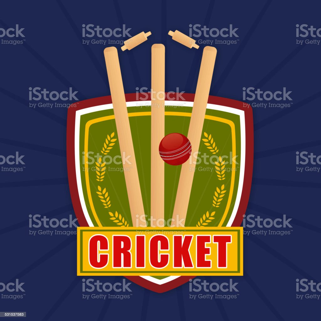 Cricket match objects with winning shield. vector art illustration