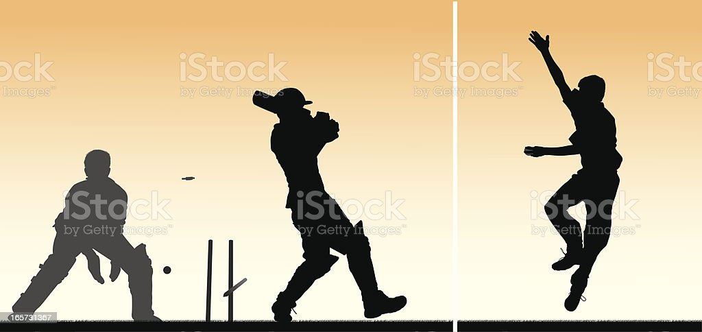 Cricket montage with 3 players vector art illustration
