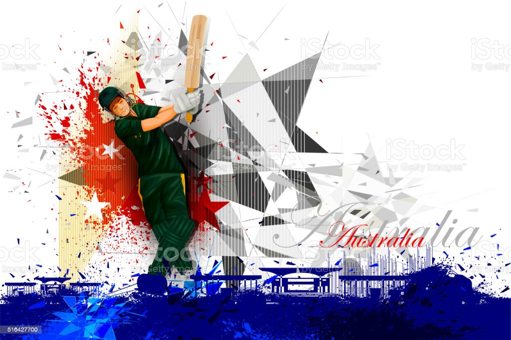 Cricket Player from Australia vector art illustration