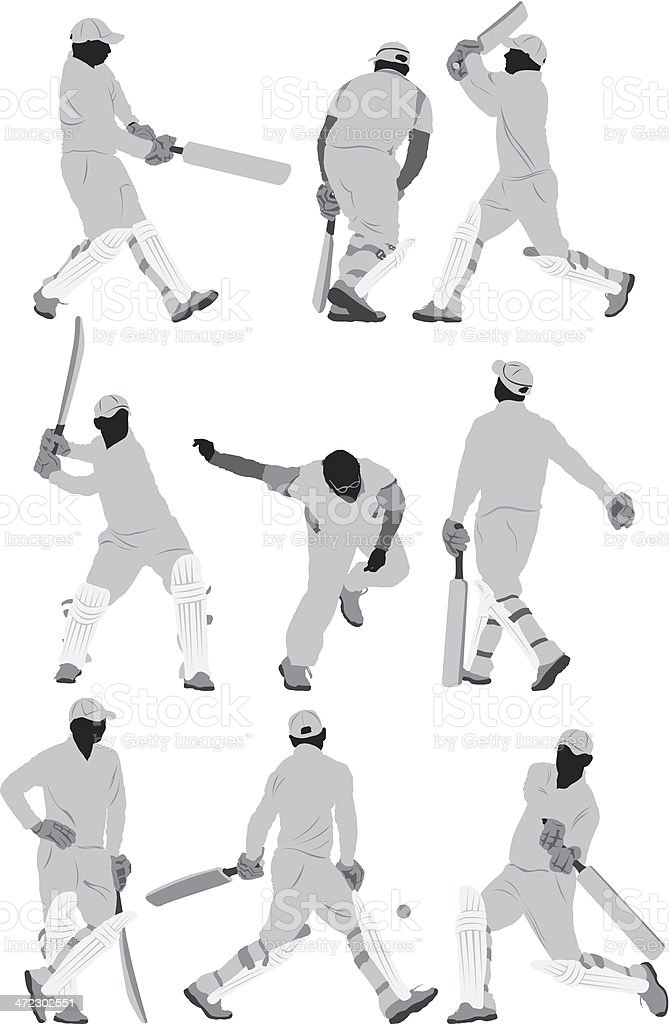 Cricket players in action royalty-free stock vector art