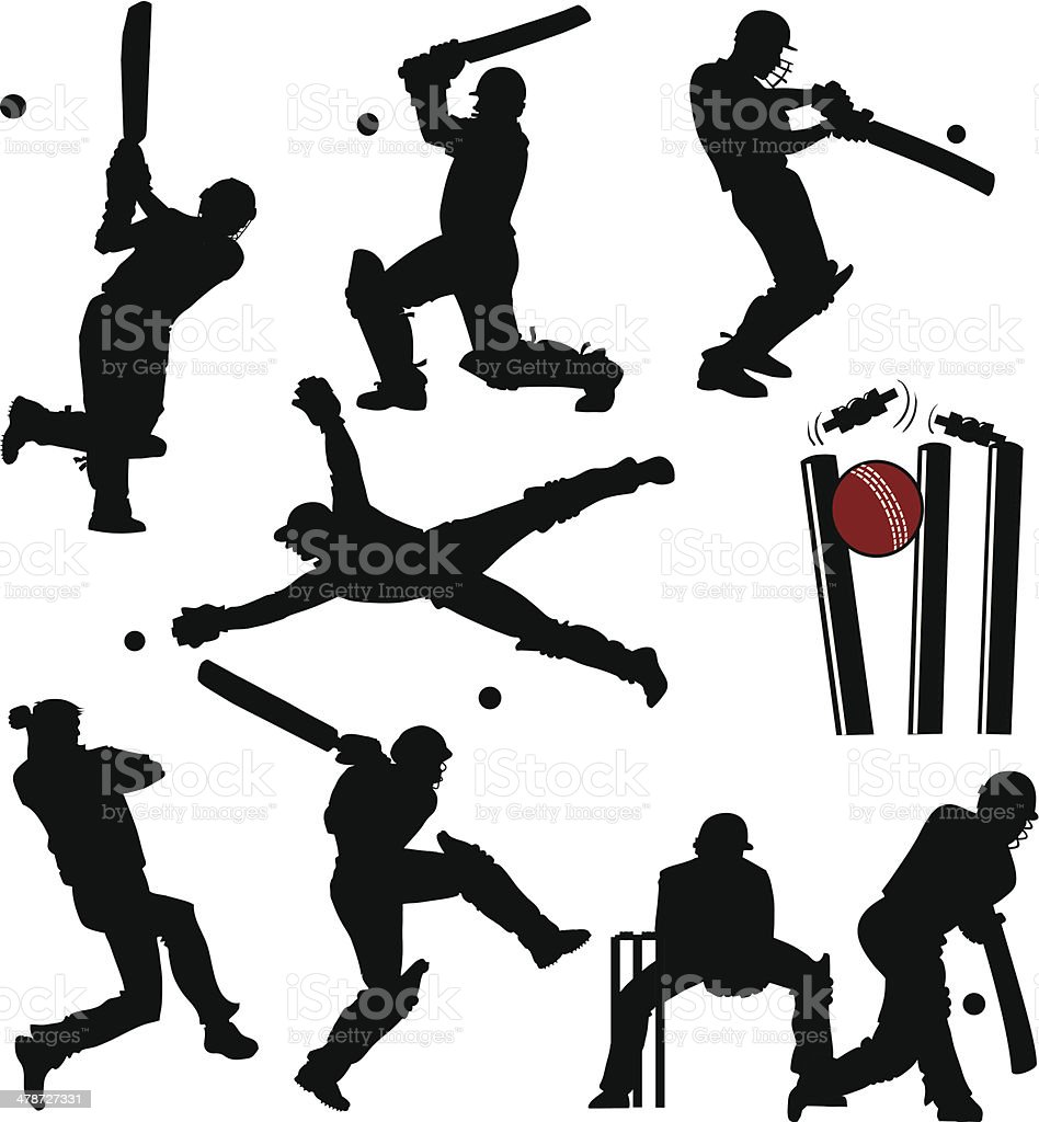 Cricket Players Silhouettes vector art illustration