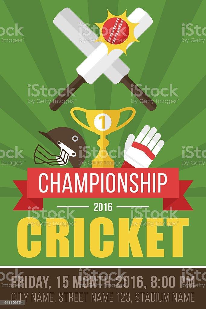 Cricket poster vector art illustration
