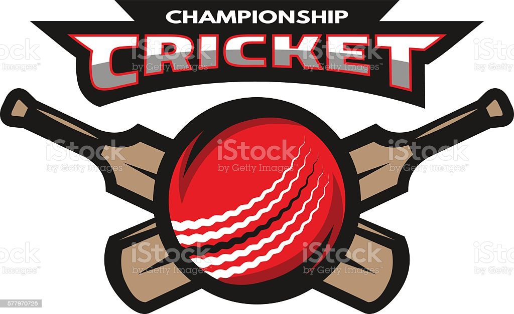 Cricket sports label, badge, emblem The ball and bat.