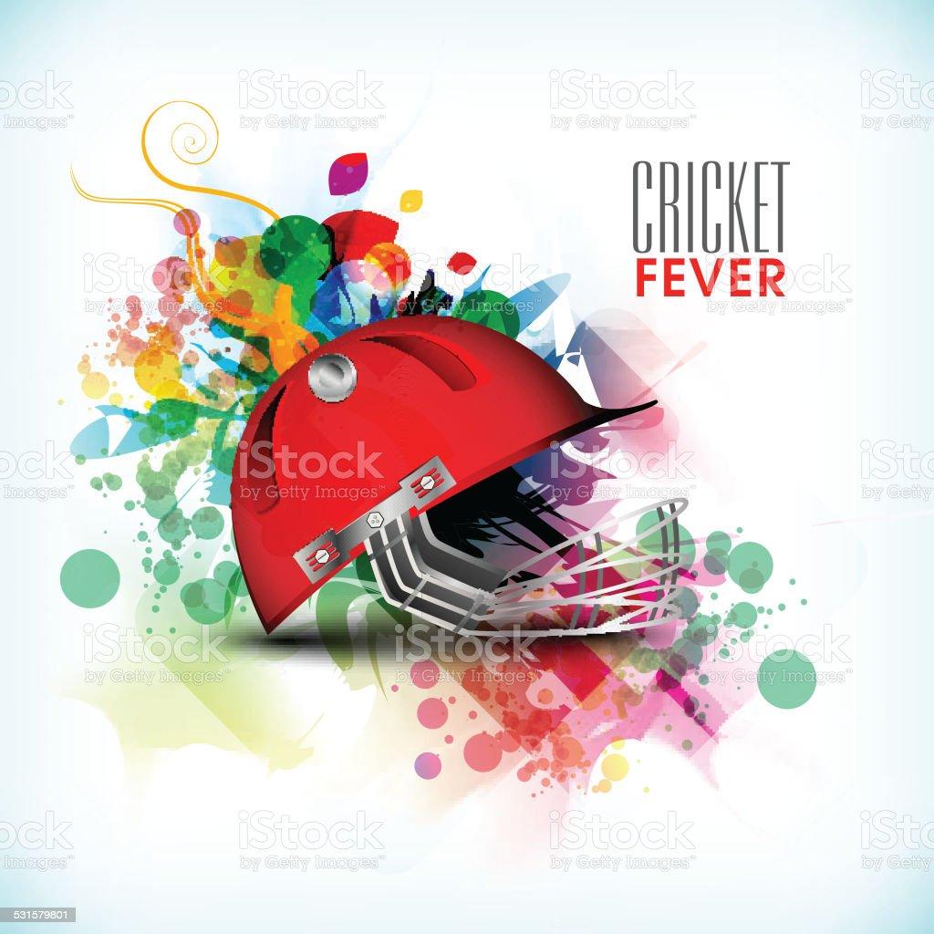 Cricket sports concept with batsman helmet. vector art illustration