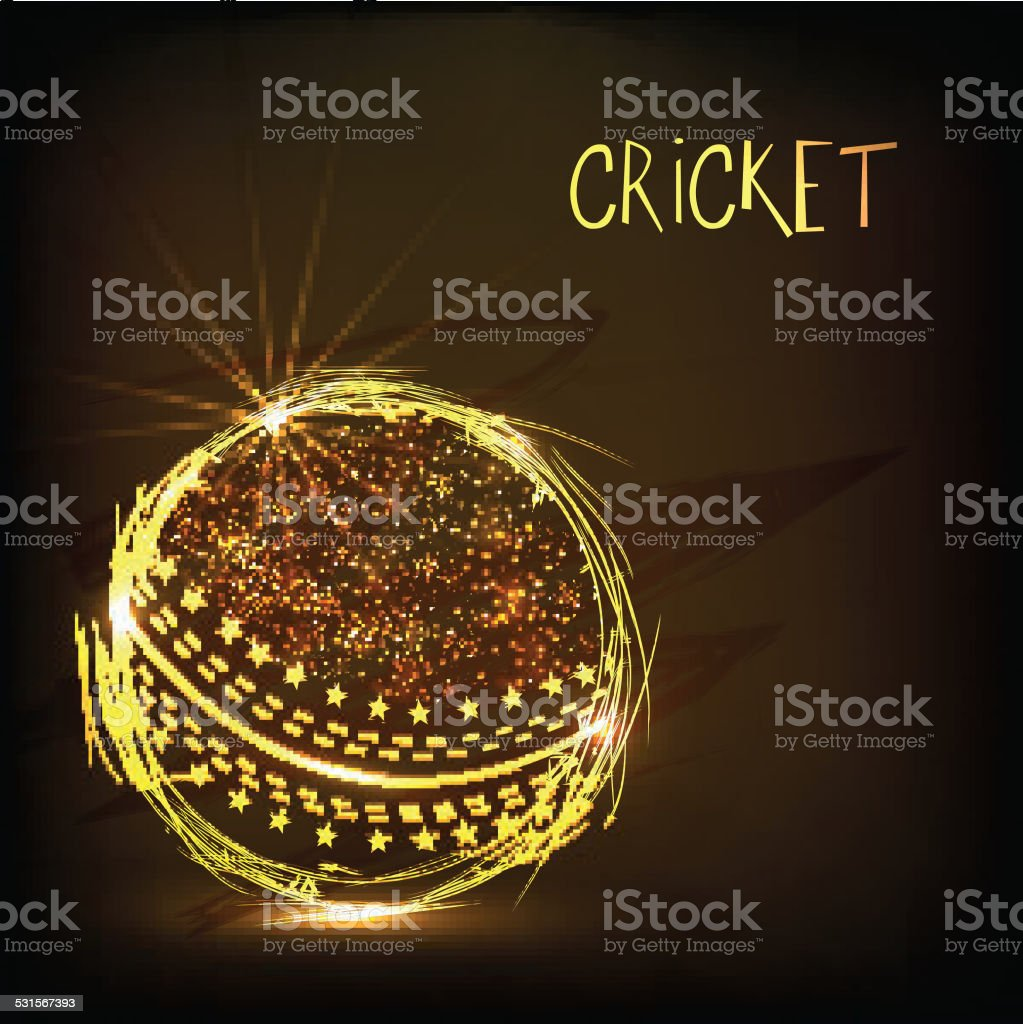 Cricket sports concept with golden ball. vector art illustration