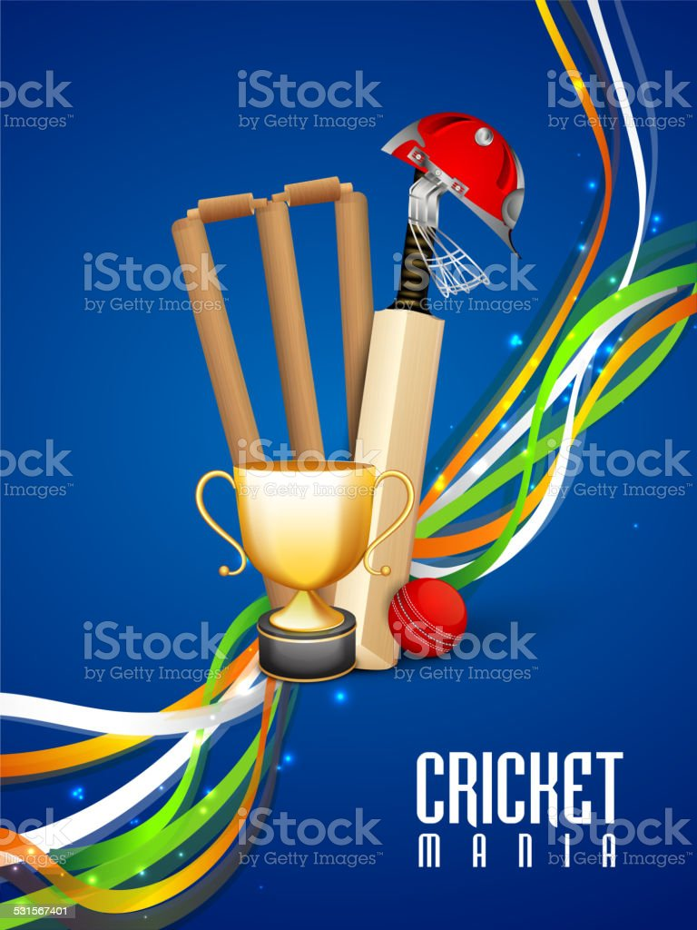 Cricket sports concept with match kit. vector art illustration