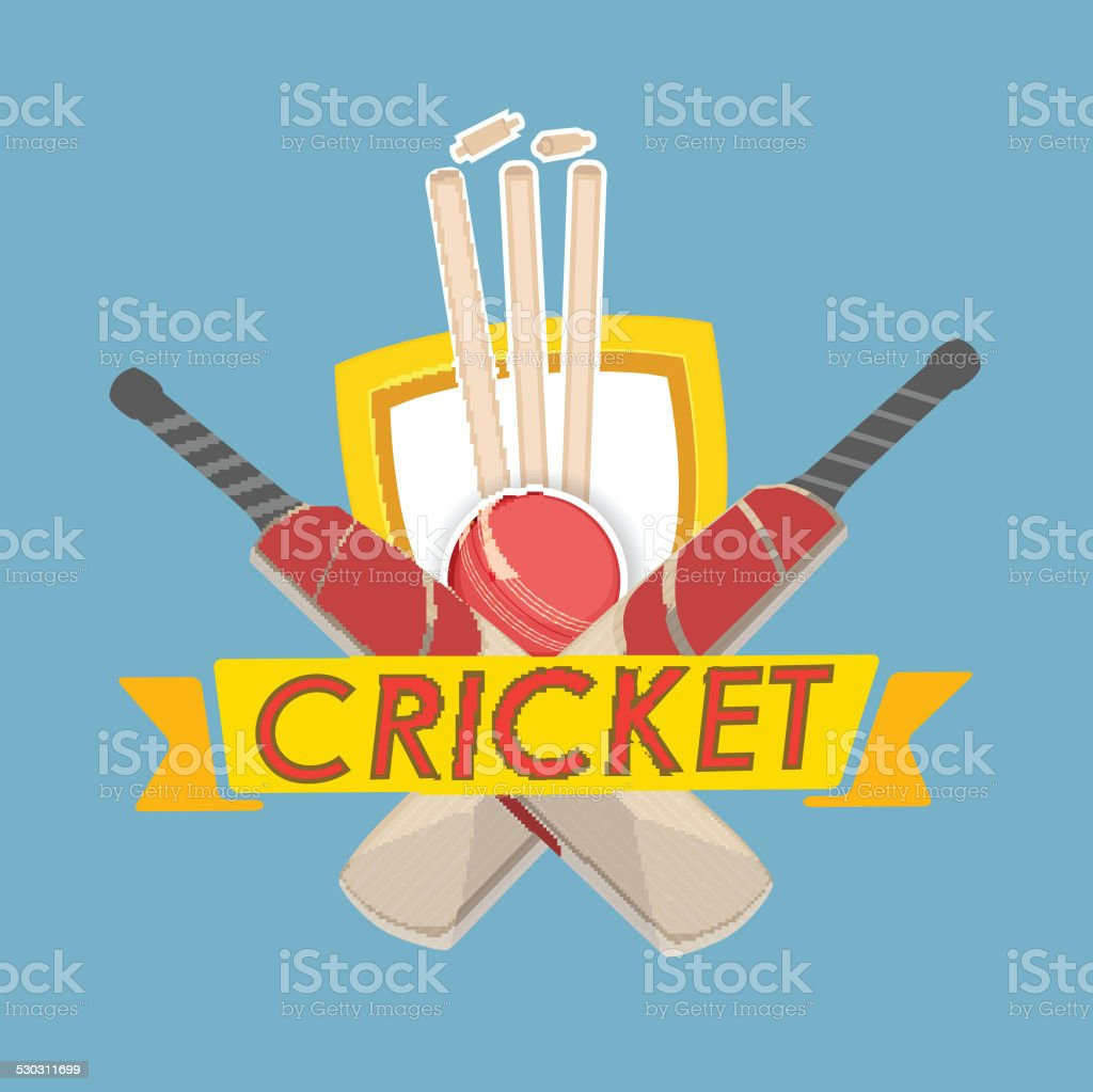 Cricket text with cricket match object. vector art illustration