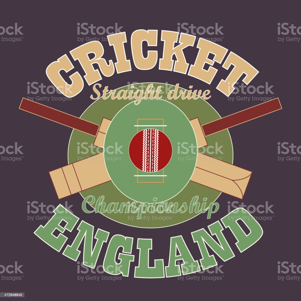 Cricket t-shirt graphic design. England vector art illustration