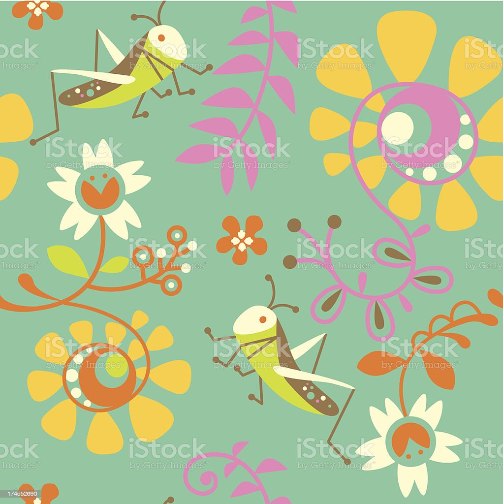 Crickets and flowers royalty-free stock vector art