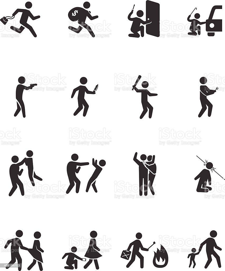 Crime activities icons - Illustration vector art illustration