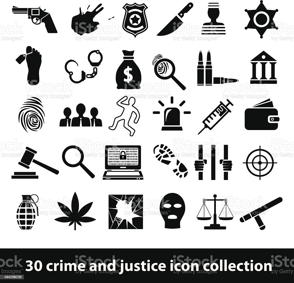 crime and justice icons vector art illustration