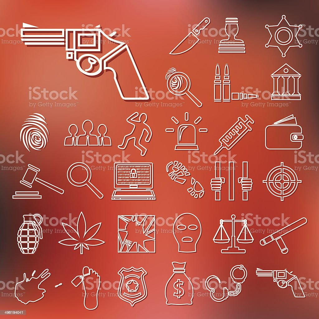 crime and justice outline icons royalty-free stock vector art