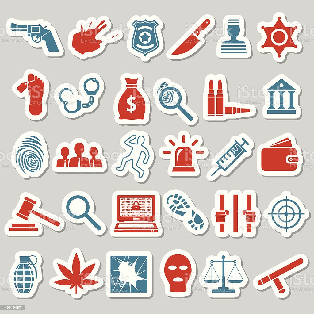 crime and justice stickers royalty-free stock vector art
