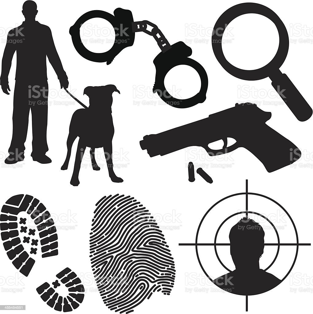 Crime and Law Enforcement Symbols royalty-free stock vector art