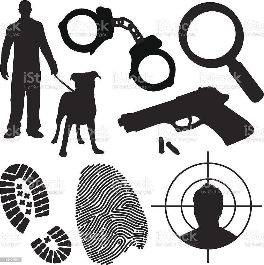 Crime and Law Enforcement Symbols vector art illustration