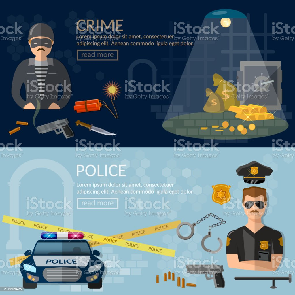 Crime and Punishment banners security system thief and policeman vector art illustration
