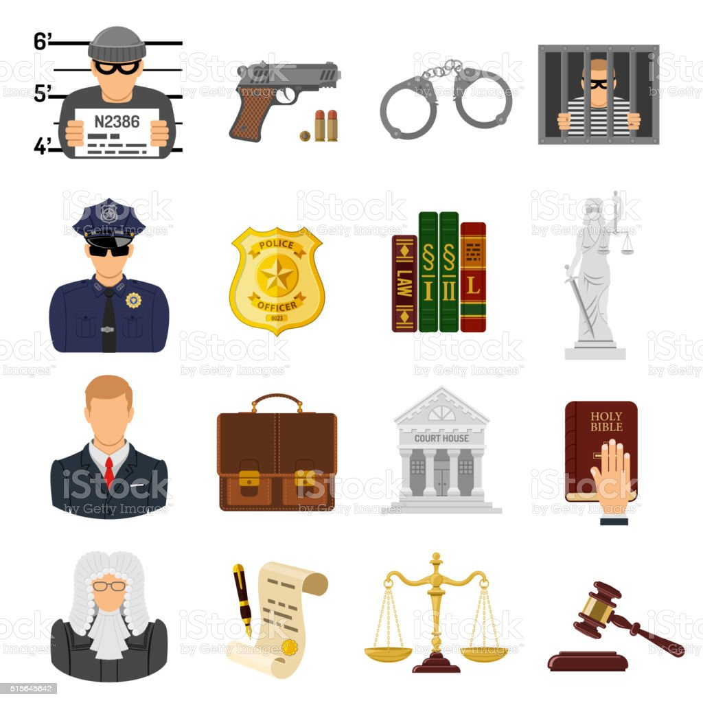 Crime and Punishment Flat Icons vector art illustration