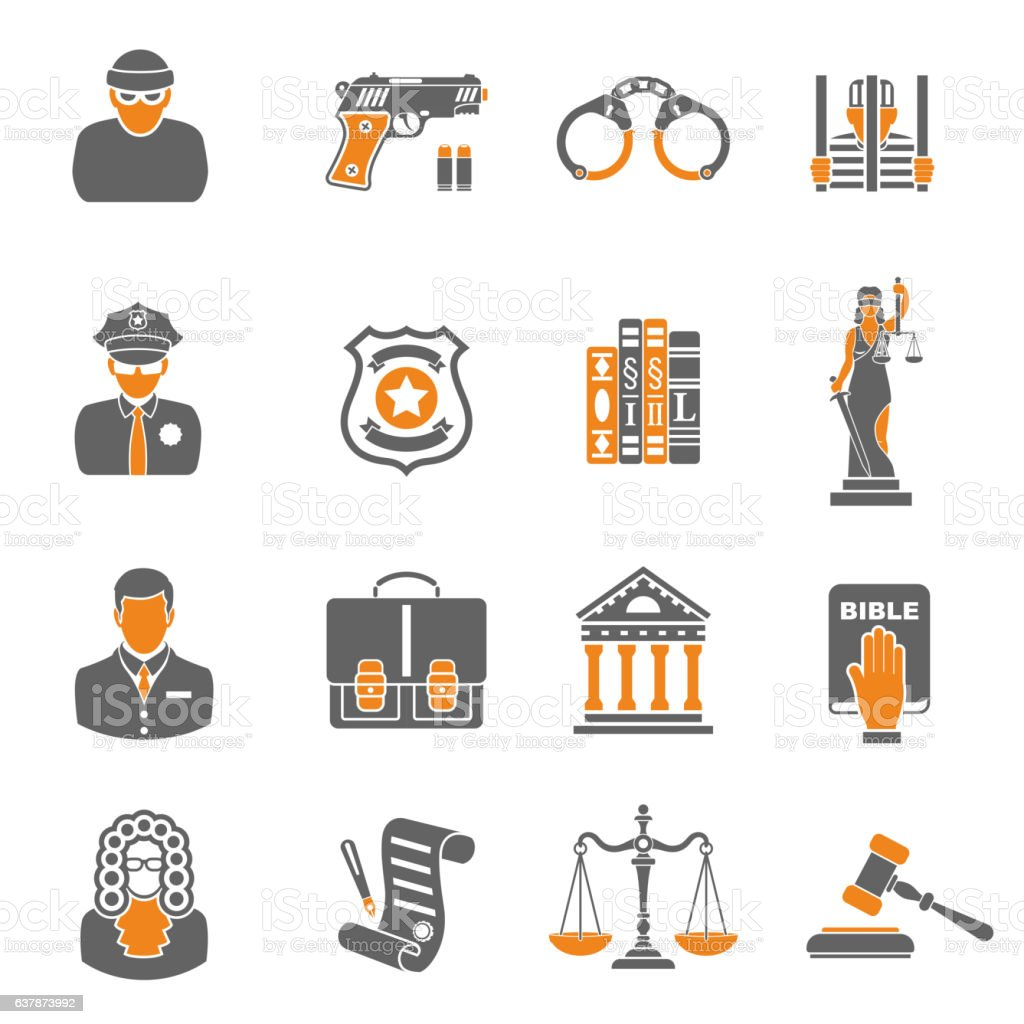 Crime and Punishment two color Icons vector art illustration