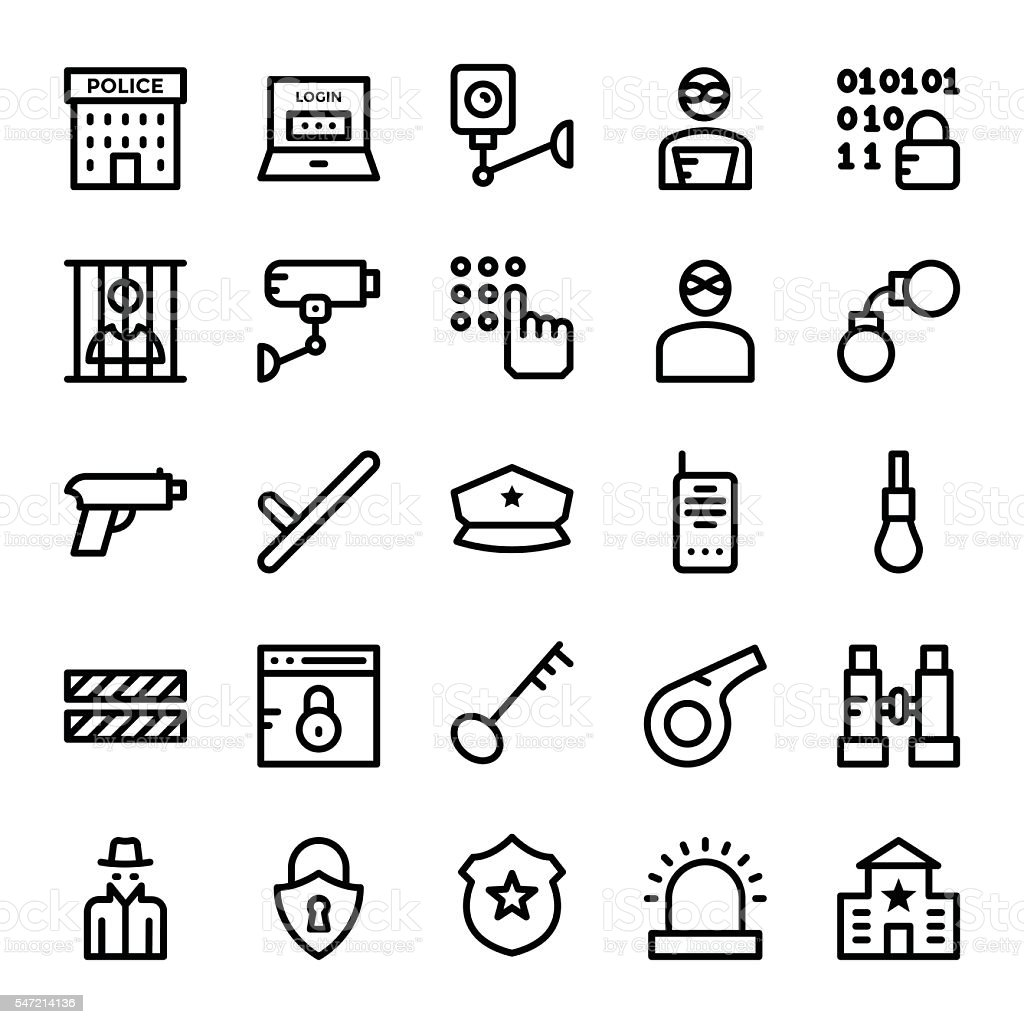 Crime and Security Vector Icons 1 vector art illustration
