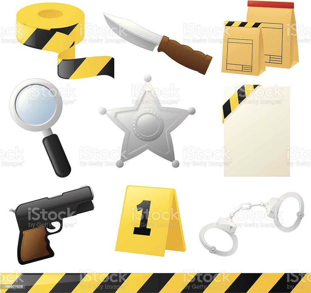 Crime Fighting Icons vector art illustration
