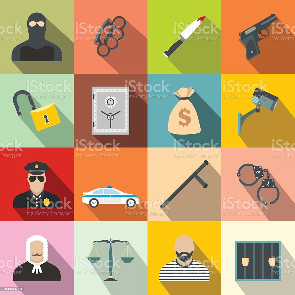 Crime flat icons vector art illustration