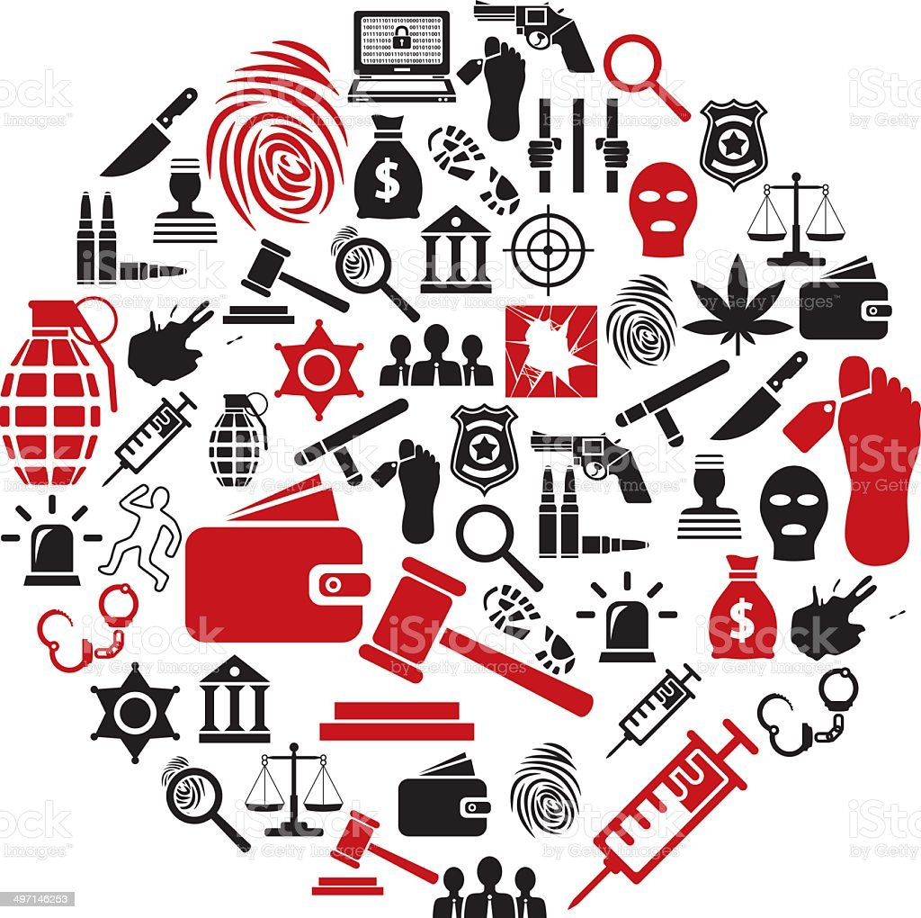 crime icons in circle royalty-free stock vector art
