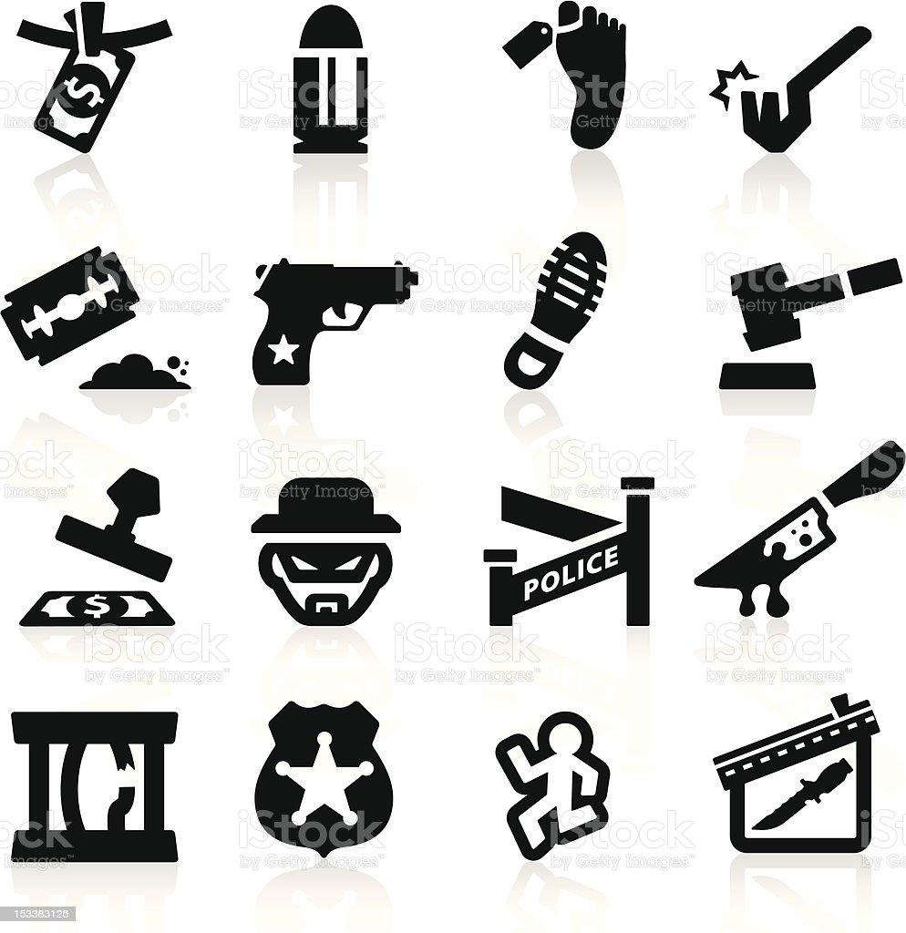 Crime Icons set Elegant series vector art illustration
