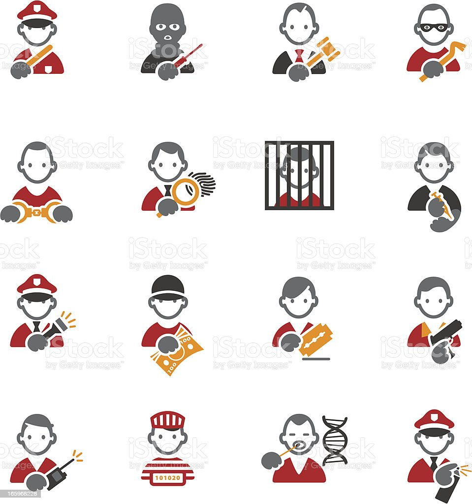 Crime icons royalty-free stock vector art