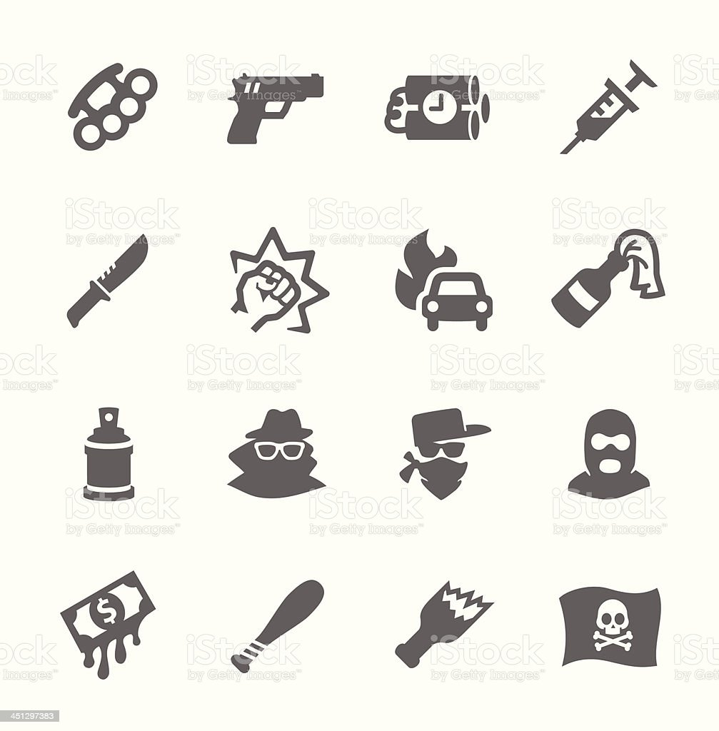 Crime Icons vector art illustration