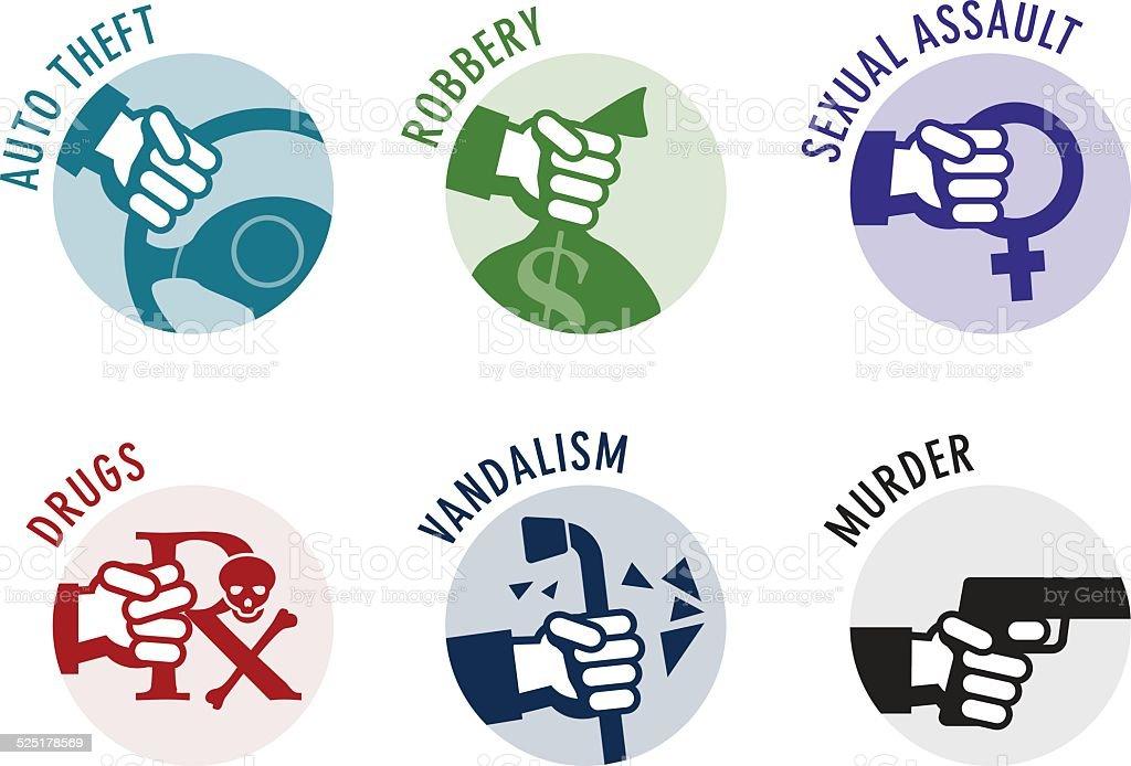 Crime icons vector art illustration