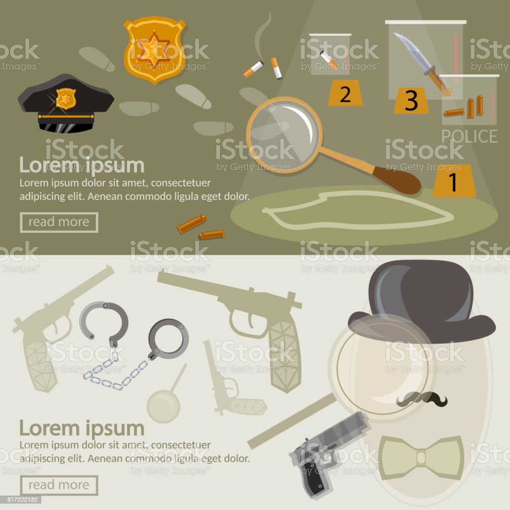Crime investigation banner detective agency search for clues vector art illustration