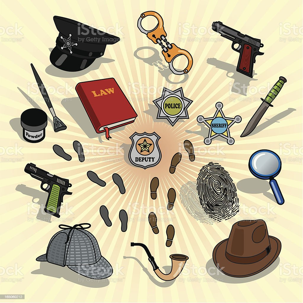 Crime Investigation Icons Vector royalty-free stock vector art